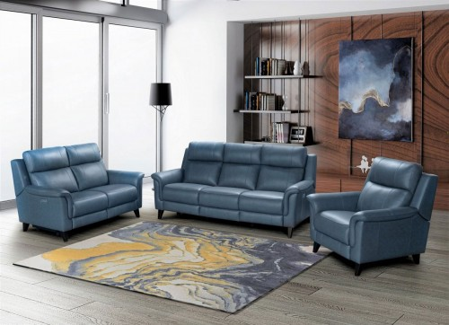 Kester Power Reclining Sofa Set with Power Head Rests - Masen Bluegray/Leather match