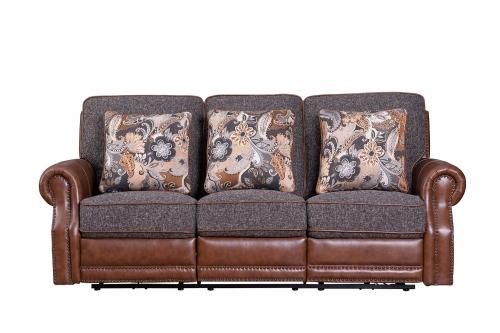 Jefferson Power Reclining Sofa - Ryegate Tawny all leather/Eddystone Arabica fabric