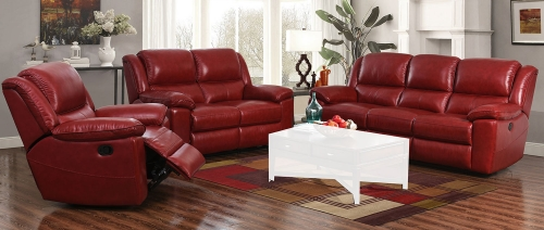 Laguna Power Reclining Sofa Set - Contact Red/Leather Match