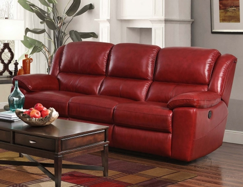 Laguna Power Reclining Sofa - Contact Red/Leather Match