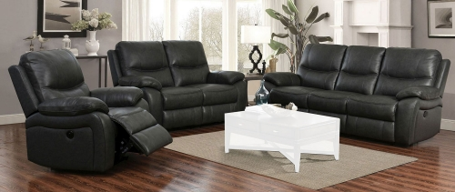 Carter Power Reclining Sofa Set - Toby Gray/Leather Match