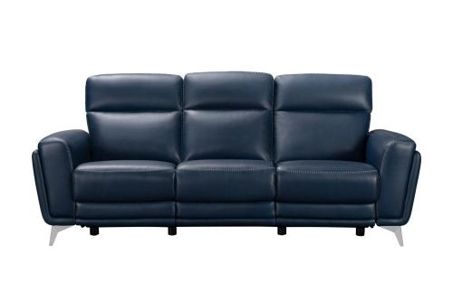Cameron Power Reclining Sofa with Power Head Rests - Marco Navy Blue/Leather Match