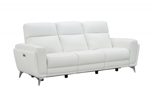 Cameron Power Reclining Sofa with Power Head Rests - Enzo Winter White/Leather Match