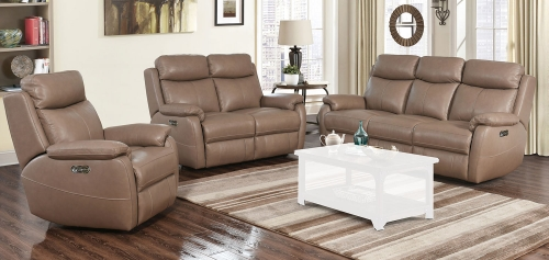 Brockton Power Reclining Sofa Set with Power Head Rests - Gable Twine/Leather Match