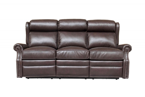 Southington Power Reclining Sofa with Power Head Rests - Shoreham Dark Umber/All Leather