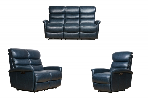 Kelso Power Reclining Sofa Set with Power Head Rests - Ryegate Sapphire Blue/Leather Match