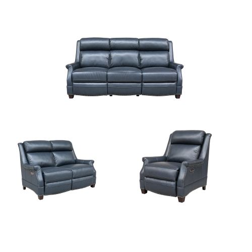 Barcalounger Warrendale Power Reclining Sofa Set with Power Head Rests - Shoreham Blue/All Leather