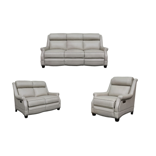 Barcalounger Warrendale Power Reclining Sofa Set with Power Head Rests - Shoreham Cream/All Leather