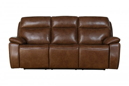 Micah Power Reclining Sofa with Power Head Rests - Misha Chestnut/Leather Match