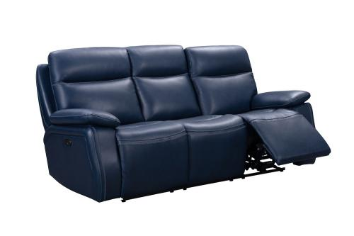 Micah Power Reclining Sofa with Power Head Rests - Marco Navy Blue/Leather Match