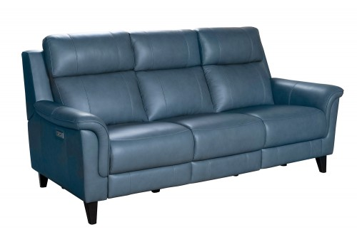 Kester Power Reclining Sofa with Power Head Rests - Masen Bluegray/Leather match