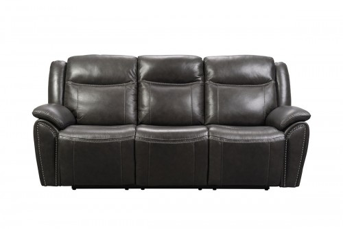 Holbrook Power Reclining Sofa with Power Head Rests and Lumbar - Venzia Grey/Leather Match