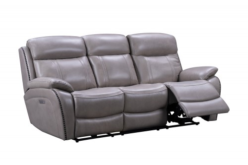 Sandover Power Reclining Sofa with Power Head Rests, Power Lumbar and Drop Down Table - Sergi Gray Beige/Leather Match