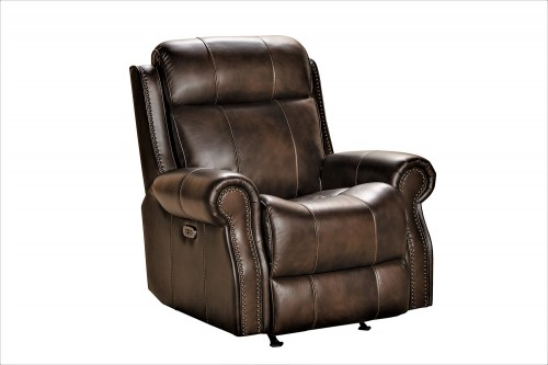 Demara Rocker Recliner Chair with Power and Power Head Rest - Tonya Brown/Leather match