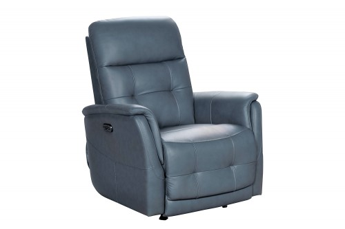 Horton Power Rocker Recliner Chair with Power Head Rest - Masen Bluegray/Leather match