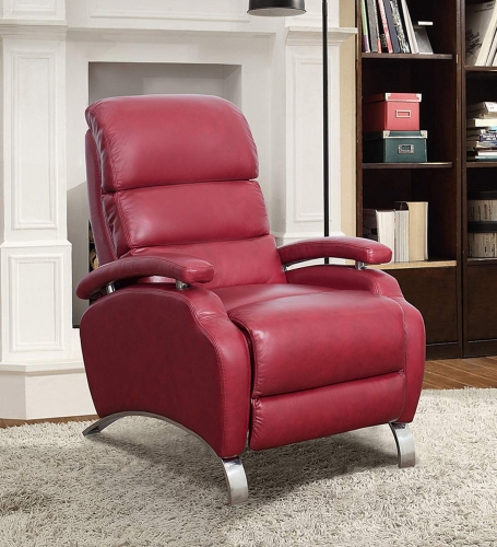 Giovanni Recliner Chair - Stargo Red/Leather Match