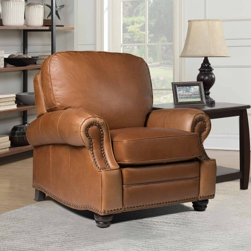 Longhorn Recliner Chair - Chaps Saddle/All top grain Leather