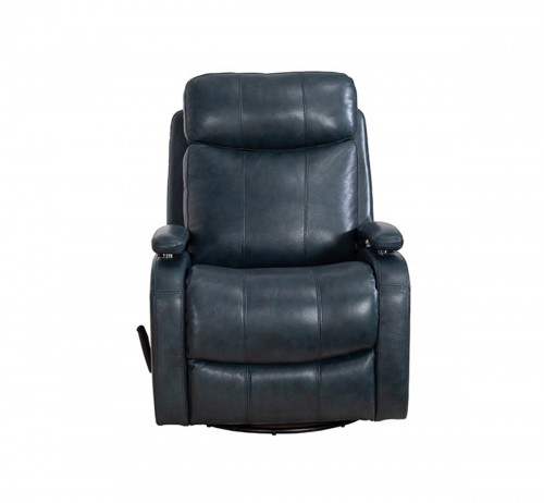 Duffy Swivel Glider Recliner Chair - Ryegate Sapphire Blue/Leather Match