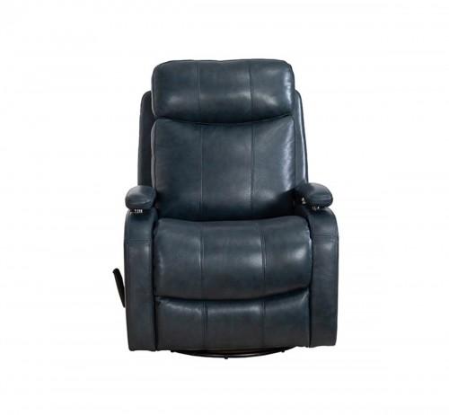 Duffy Swivel Glider Recliner Chair - Ryegate Sapphire Blue/Leather Match
