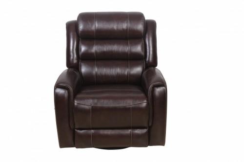 Cartney Swivel Glider Recliner Chair - Ryegate Raisin/Leather Match