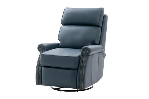 Crews Swivel Glider Recliner Chair - Prestin Yale Blue/All Leather