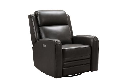 Kennedy Big and Tall Power Swivel Recliner Chair with Power Head Rest - Matteo Smokey Gray/Leather Match