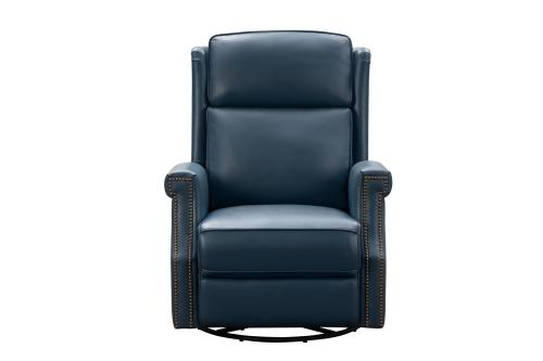 Brookmore Swivel Glider Recliner Chair with Power Recline and Power Head Rest - Prestin Yale Blue/All Leather