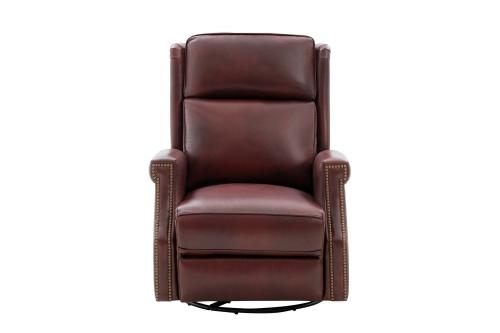 Brookmore Swivel Glider Recliner Chair with Power Recline and Power Head Rest - Emerson Sangria/Top Grain Leather