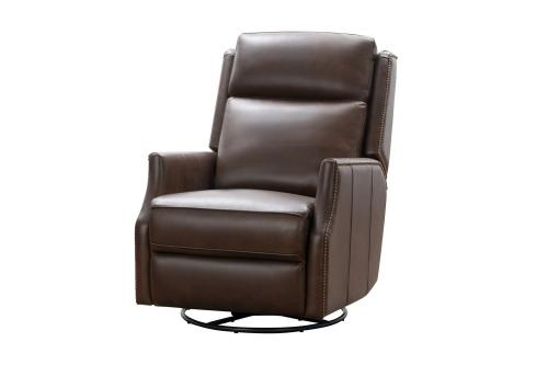 Cavill Swivel Glider Recliner Chair with Power Recline and Power Head Rest - Ashford Walnut/All Leather
