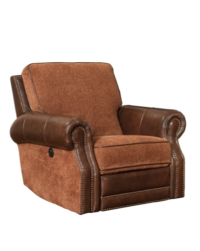 Jefferson Power Recliner Chair - Yadkin Bark/Caravane Auburn fabric