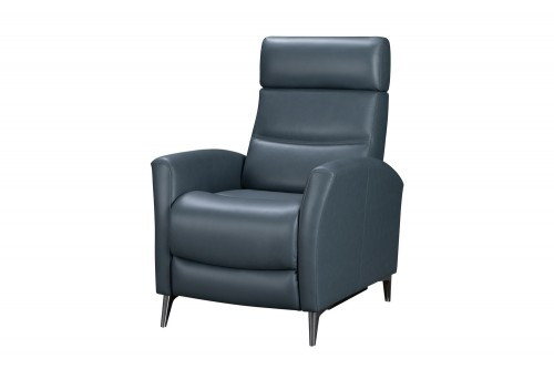 Zane Power Recliner Chair - Masen Bluegray/Leather Match