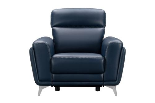 Cameron Power Recliner Chair with Power Head Rest - Marco Navy Blue/Leather Match