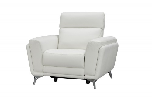 Cameron Power Recliner Chair with Power Head Rest - Enzo Winter White/Leather Match