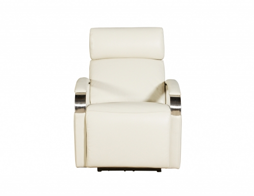Cosmo Power Recliner Chair with Power Head Rest - Cashmere White/Leather Match