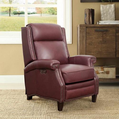 Barrett Power Recliner Chair with Power Headrest - Shoreham Wine/All Leather