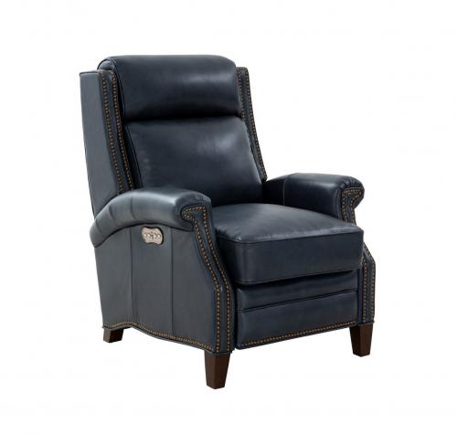 Barrett Power Recliner Chair with Power Head Rest - Barone Navy Blue/All Leather