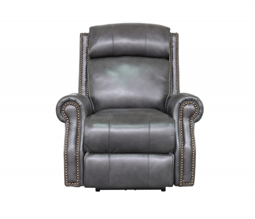 Blair Big and Tall Power Recliner Chair with Power Head Rest - Wrenn Gray/all leather