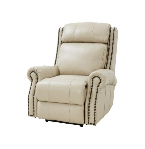 Blair Big and Tall Power Recliner Chair with Power Head Rest - Barone Parchment/All Leather