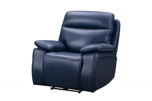 Micah Power Recliner Chair with Power Head Rest - Marco Navy Blue/Leather Match