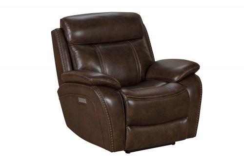 Sandover Power Recliner Chair with Power Head Rest and Lumbar - Tri-Tone Chocolate/Leather match