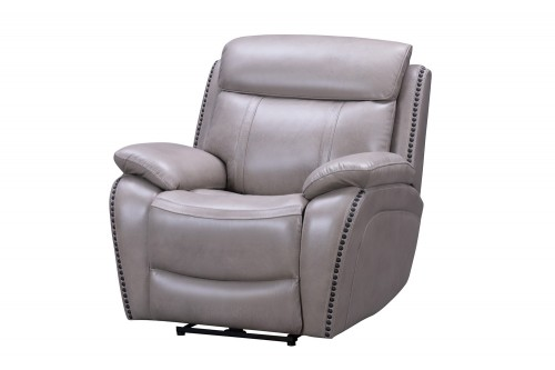 Sandover Power Recliner Chair with Power Head Rest and Lumbar - Sergi Gray Beige/Leather Match
