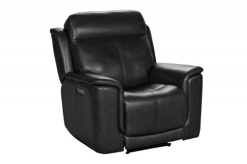 Burbank Power Recliner Chair with Power Head Rest and Lumbar - Matteo Smokey Gray/Leather match