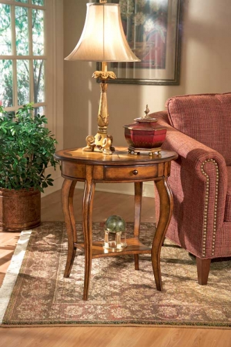0532101 Olive Ash Burl Oval Accent Table