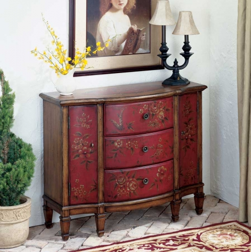 Red Hand Painted Console Cabinet