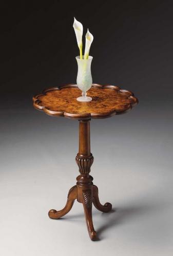 1482101 Olive Ash Burl Pedestal Table