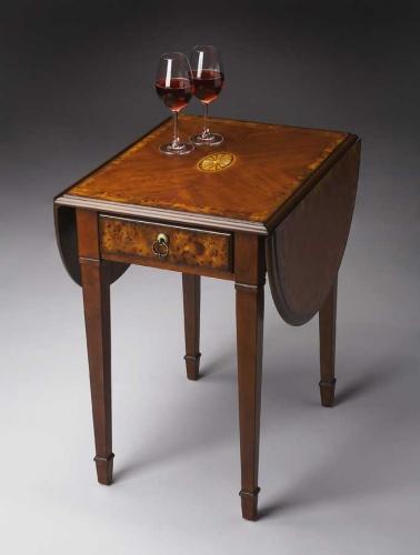 1576101 Olive Ash Burl Pembroke Table