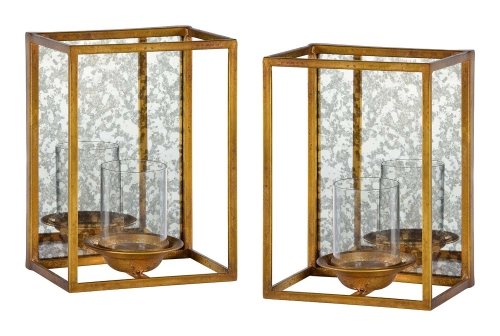 Avery 2 PC Set Candle Holders- Gold Leaf