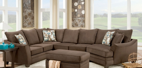 Cupertino 3 pc Sectional Sofa Set - Flannel Espresso