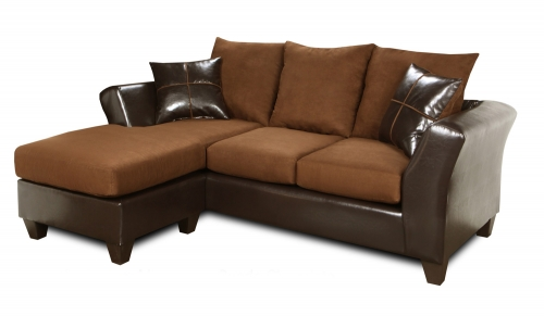 Peyton Sofa Chaise - Denver Mocha/Flatsuede Chocolate