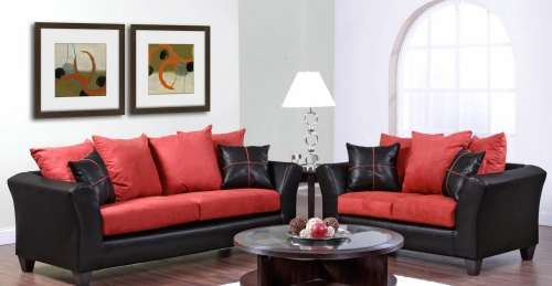 Cynthia Sofa Set - Denver Black/Victory Cardinal